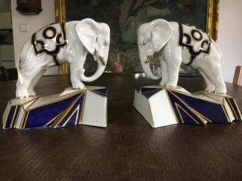 Porcelain Elephant Figurine - Royal Dux - 1930