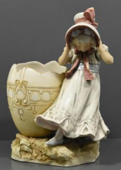 Porcelain Girl Figurine - painted porcelain - Royal Dux - 1905
